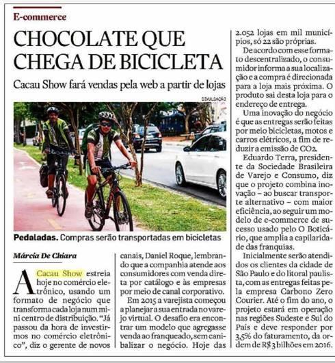 chocolate que chega de bicicleta